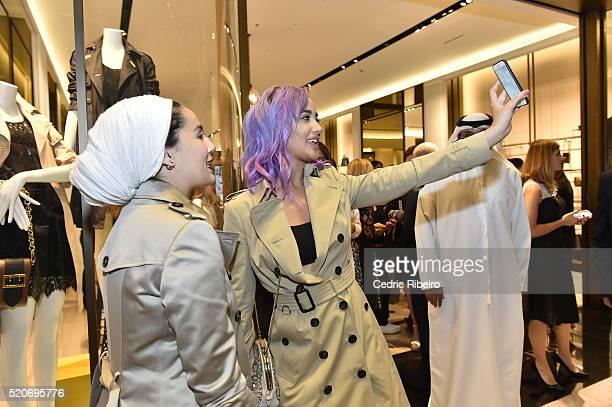 'DUBAI UNITED ARAB EMIRATES APRIL 12 Nina Abdel Malak and Ascia Akf at the Burberry Art of the Trench Middle East event at Mall of the Emirates on...