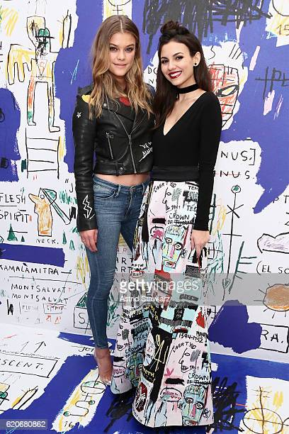 Nina Agdal and Victoria Justice attend the alice olivia x Basquiat CFDA Capsule Collection launch party on November 2 2016 in New York City