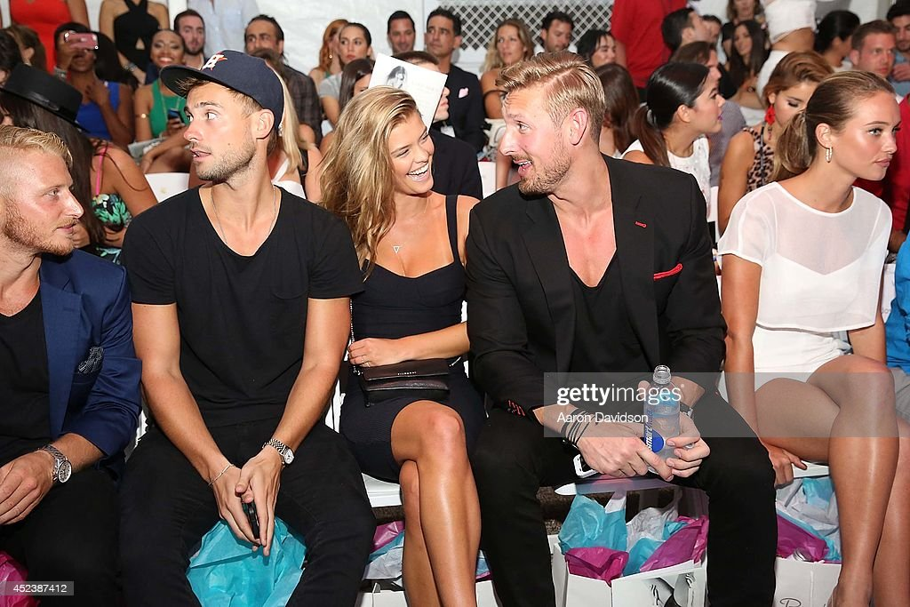 Nina Agdal attends Beach Bunny Featuring The Blonds Front Row MercedesBenz Fashion Week Swim at Raleigh Hotel on July 18 2014 in Miami Beach Florida