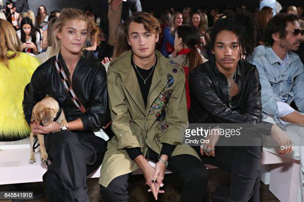 Nina Agdal Brandon Thomas Lee and Luka Sabbat attend the Zadig Voltaire September 2017 fashion show during New York Fashion Week at Cedar Lake on...