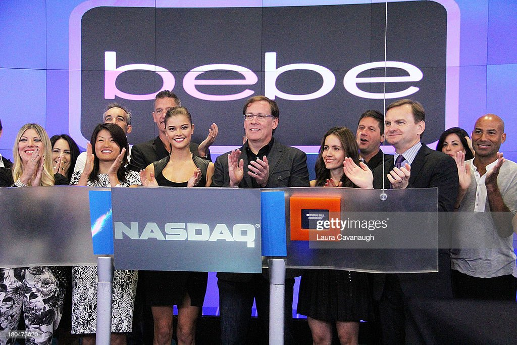 <a gi-track='captionPersonalityLinkClicked' href=/galleries/search?phrase=Nina+Agdal&family=editorial&specificpeople=7574783 ng-click='$event.stopPropagation()'>Nina Agdal</a>, Steve Birkhold, CEO of Bebe Stores, Inc. Nicole Birkhold and Bruce Aust ring the opening bell at NASDAQ MarketSite on September 13, 2013 in New York City.
