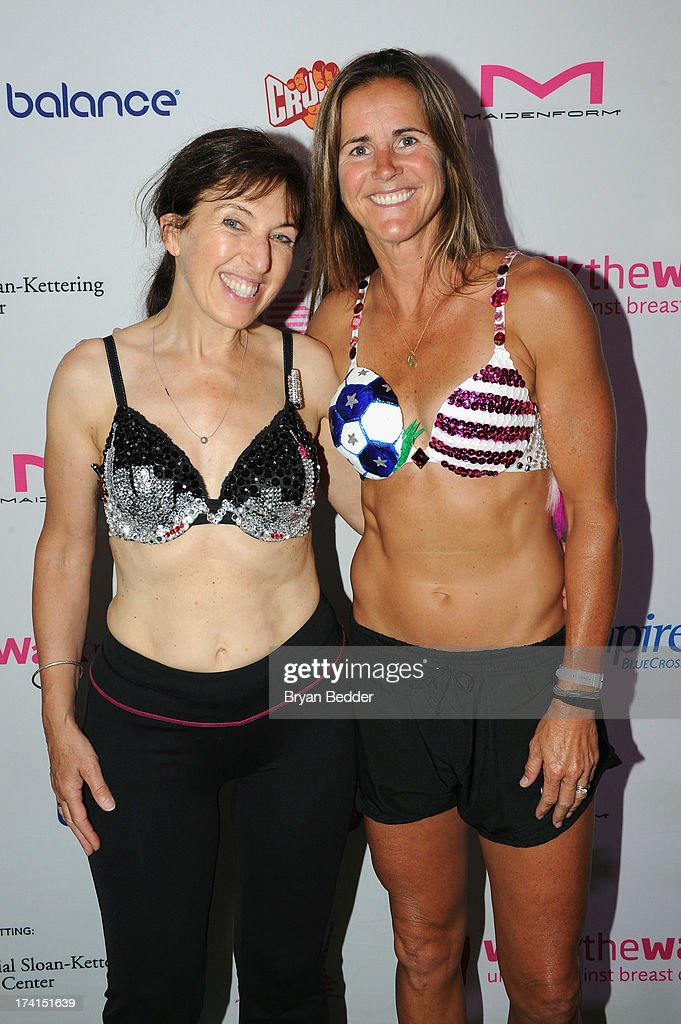 Nina Barough, founder of Walk the Walk and soccer player <a gi-track='captionPersonalityLinkClicked' href=/galleries/search?phrase=Brandi+Chastain&family=editorial&specificpeople=213795 ng-click='$event.stopPropagation()'>Brandi Chastain</a> (R) attend the first-ever MoonWalk NYC at Randall's Island on July 21, 2013 in New York City.