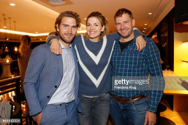 Nina Bott her boyfriend Benjamin Baarz and her brother Tobias Bott attend the Till Demtroeders CharityEvent 'Usedom Cross Country' at the Pier 14 on...