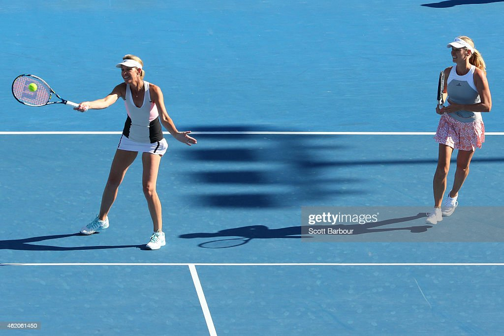 <a gi-track='captionPersonalityLinkClicked' href=/galleries/search?phrase=Nina+Bratchikova&family=editorial&specificpeople=6992687 ng-click='$event.stopPropagation()'>Nina Bratchikova</a> of Russia and <a gi-track='captionPersonalityLinkClicked' href=/galleries/search?phrase=Barbara+Schett&family=editorial&specificpeople=214550 ng-click='$event.stopPropagation()'>Barbara Schett</a> of Austria in action in their second round doubles match against Mary Joe Fernandez of the United States and Iva Majoli of Croatia during day six of the 2015 Australian Open at Melbourne Park on January 24, 2015 in Melbourne, Australia.