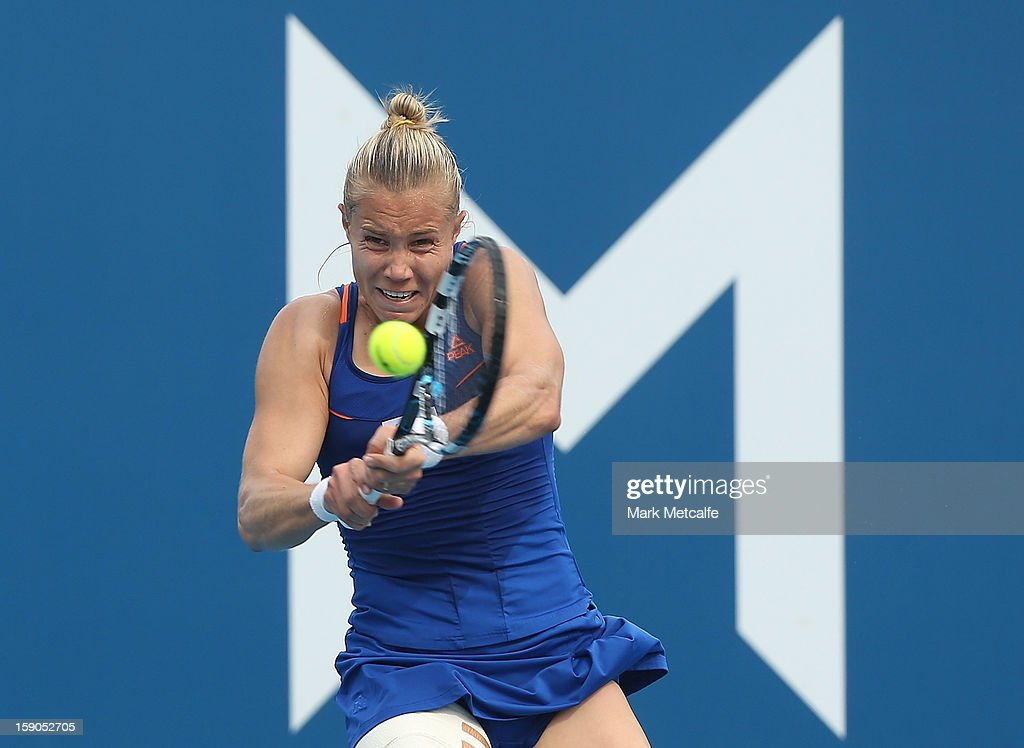 <a gi-track='captionPersonalityLinkClicked' href=/galleries/search?phrase=Nina+Bratchikova&family=editorial&specificpeople=6992687 ng-click='$event.stopPropagation()'>Nina Bratchikova</a> of Russia plays a backhand in her first round match against Sorana Cirstea of Romania during day four of the Hobart International at Domain Tennis Centre on January 7, 2013 in Hobart, Australia.