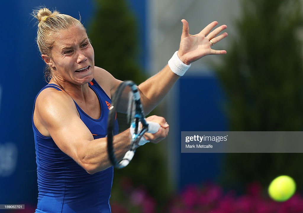 <a gi-track='captionPersonalityLinkClicked' href=/galleries/search?phrase=Nina+Bratchikova&family=editorial&specificpeople=6992687 ng-click='$event.stopPropagation()'>Nina Bratchikova</a> of Russia plays a forehand in her first round match against Sorana Cirstea of Romania during day four of the Hobart International at Domain Tennis Centre on January 7, 2013 in Hobart, Australia.