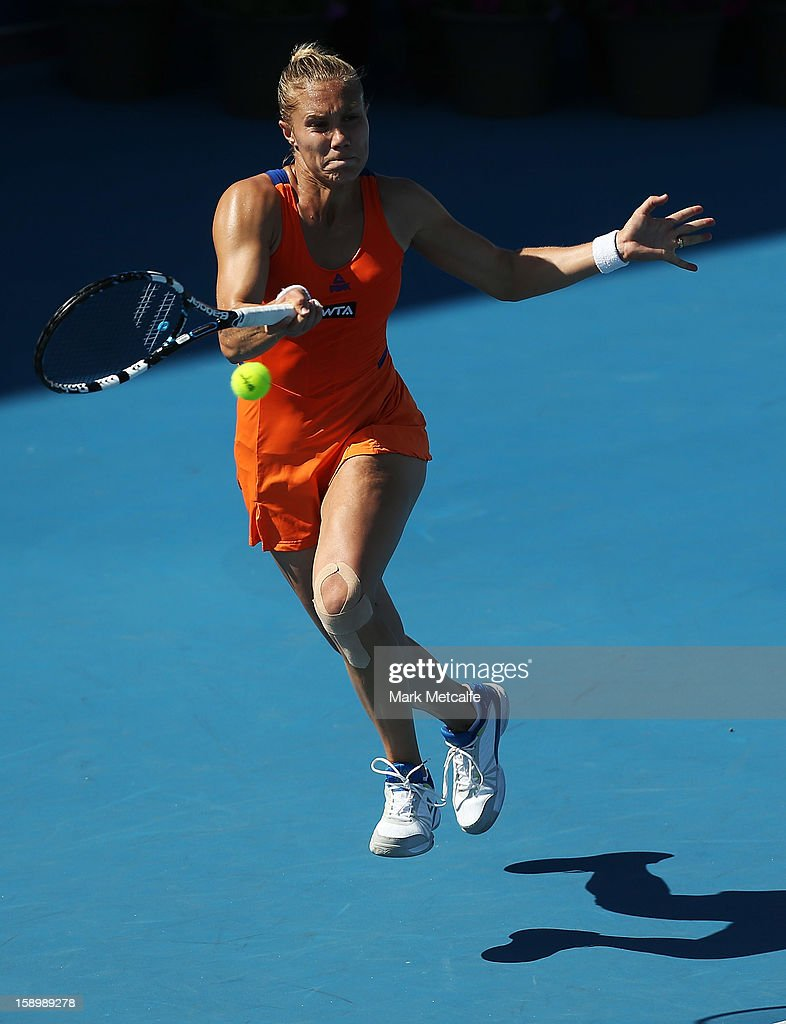 <a gi-track='captionPersonalityLinkClicked' href=/galleries/search?phrase=Nina+Bratchikova&family=editorial&specificpeople=6992687 ng-click='$event.stopPropagation()'>Nina Bratchikova</a> of Russia plays a forehand in her qualifying singles match with Sasha Jones of Australia during day two of the Hobart International at Domain Tennis Centre on January 5, 2013 in Hobart, Australia.