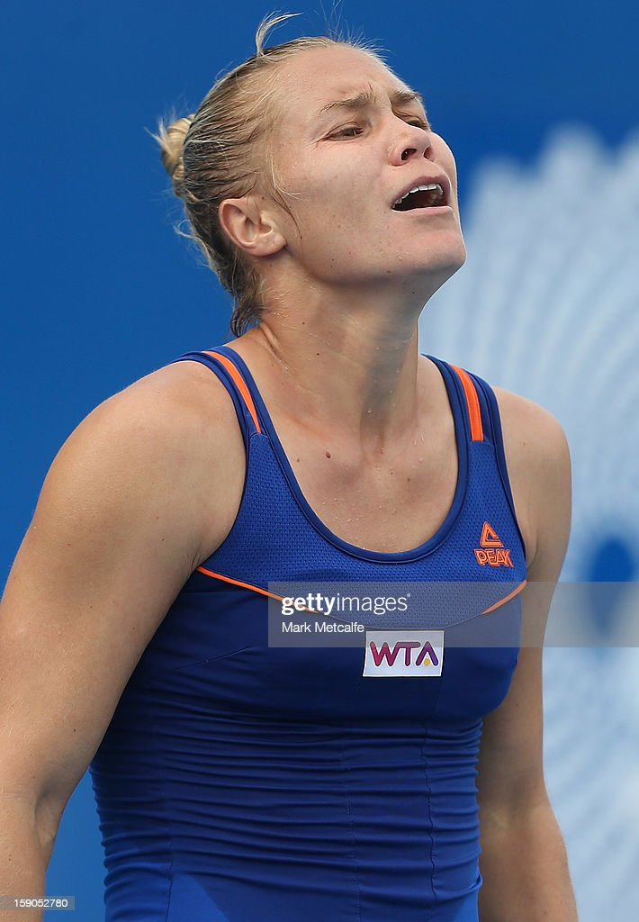 <a gi-track='captionPersonalityLinkClicked' href=/galleries/search?phrase=Nina+Bratchikova&family=editorial&specificpeople=6992687 ng-click='$event.stopPropagation()'>Nina Bratchikova</a> of Russia reacts to losing a point in her first round match against Sorana Cirstea of Romania during day four of the Hobart International at Domain Tennis Centre on January 7, 2013 in Hobart, Australia.