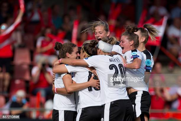 Nina Burger of Austria celebrates after scoring his team`s first goal during the Group C match between Austria and Switzerland during the UEFA...