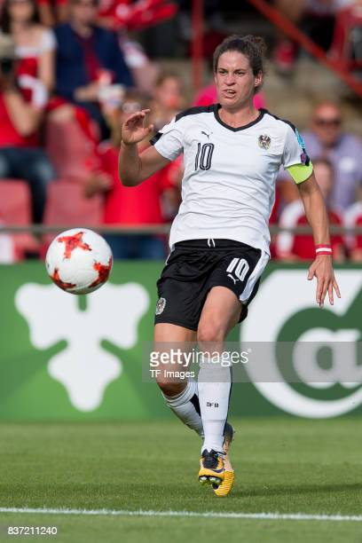 Nina Burger of Austria controls the ball during the Group C match between Austria and Switzerland during the UEFA Women's Euro 2017 at Stadion De...