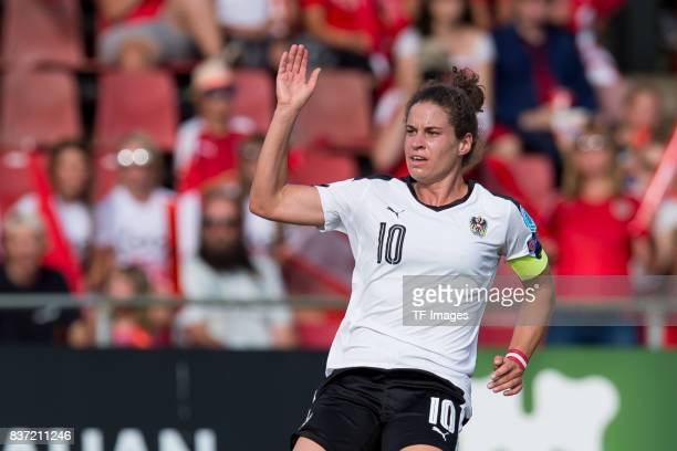 Nina Burger of Austria gestures during the Group C match between Austria and Switzerland during the UEFA Women's Euro 2017 at Stadion De...