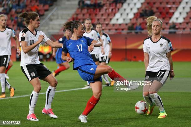 Nina Burger of Austria women Gaetane Thiney of France women Sarah Puntigam of Austria women during the UEFA WEURO 2017 Group C group stage match...