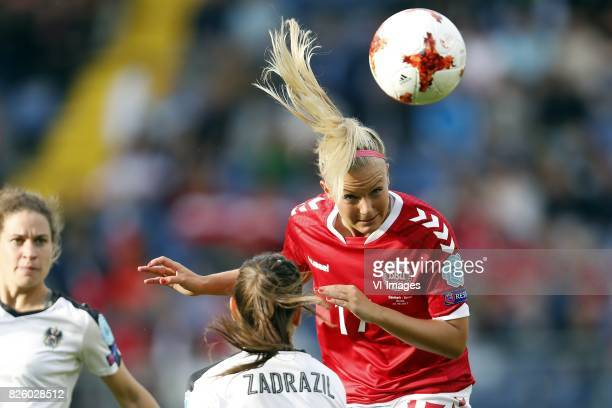 Nina Burger of Austria women Sarah Zadrazil of Austria women Line Jensen of Denmark during the UEFA WEURO 2017 semifinal match between Denmark and...