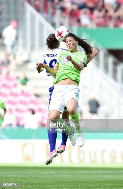 Nina Burger of SC Sand and Sara Bjoerk of Wolfsburg battle for the ball during the Women's DFB Cup Final 2017 match between SC Sand and VFL Wolfsburg...
