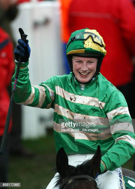 Nina Carberry celebrates her win on Garde Champetre in The Glenfarclas Handicap Steeple Chase at Cheltenham Racecourse Cheltenham