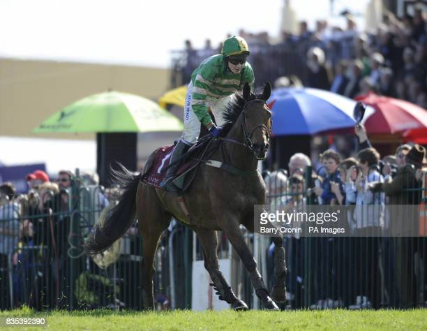 Nina Carberry on Garde Champetre after winning The Avon Ri Corporate Leisure Resort Steeplechase for the La Touche Cup during the Punchestown Racing...