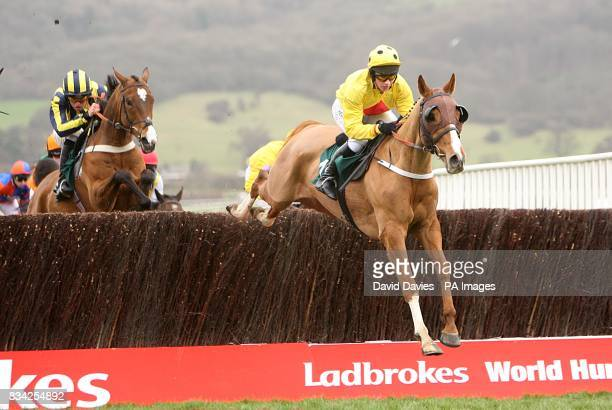 Nina Carberry on Oulart jumps clear in the Peter O'Sullevan NH CHS CHallenge during the Cheltenham Festival