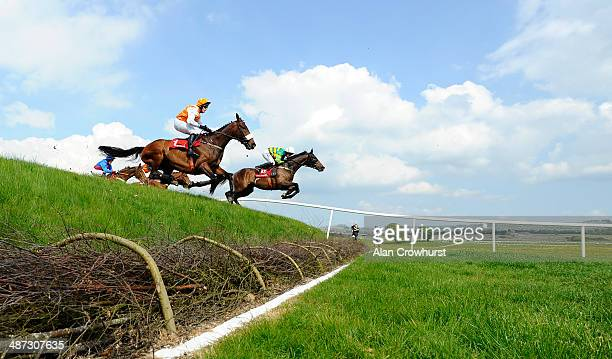 Nina Carberry riding Be Positive clear 'Ruby's Double' on their way to winning The Kildare Hunt Club Fr Sean Breen Memorial Steeplechase at...