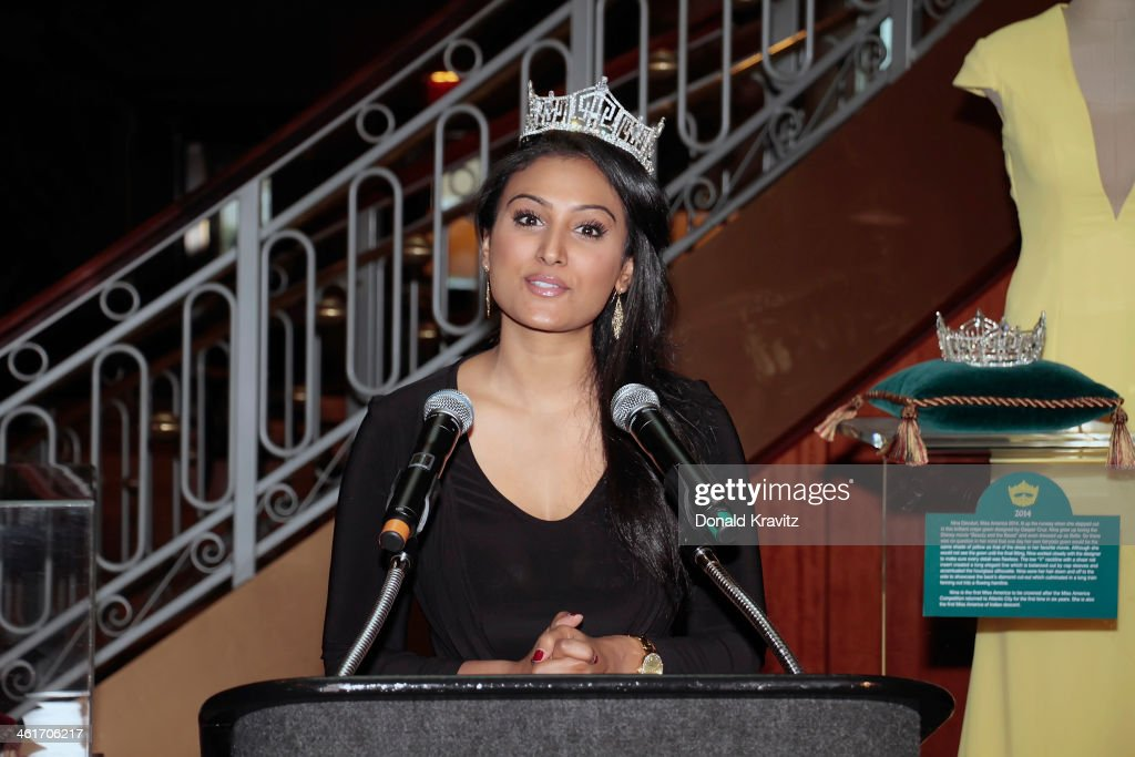 Nina Davuluri Miss America 2014 attends the Miss America Competition press conference announcing the date of the 2015 competition on January 10 2014...