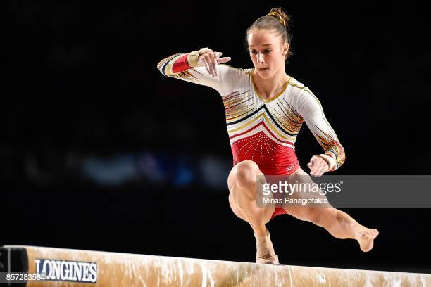 Nina Derwael of Belgium competes on the balance beam during the qualification round of the Artistic Gymnastics World Championships on October 3 2017...