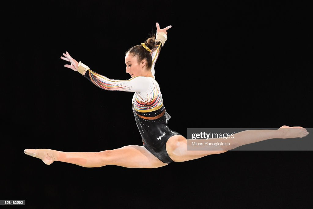 Nina Derwael of Belgium competes on the balance beam during the women's individual all-around final of the Artistic Gymnastics World Championships on October 6, 2017 at Olympic Stadium in Montreal, Canada.