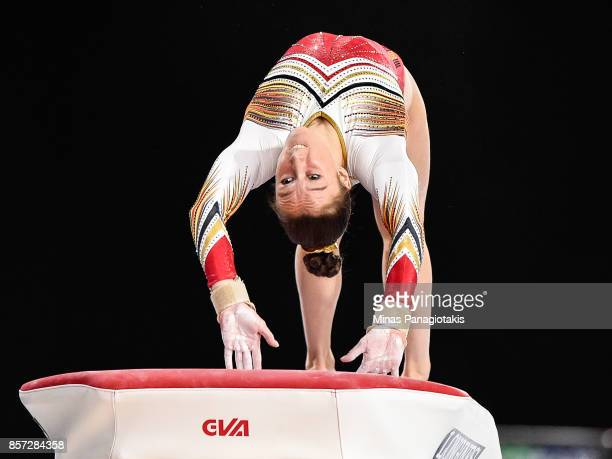 Nina Derwael of Belgium competes on the vault during the qualification round of the Artistic Gymnastics World Championships on October 3 2017 at...