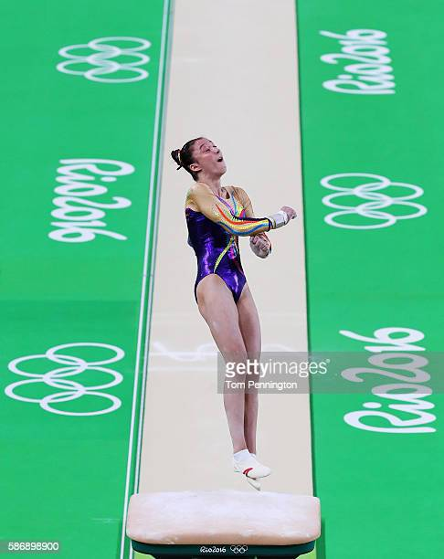 Nina Derwael of Belgium competes on the vault during Women's qualification for Artistic Gymnastics on Day 2 of the Rio 2016 Olympic Games at the Rio...