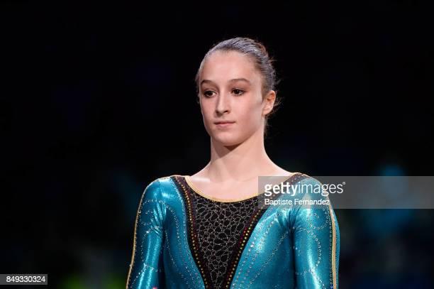 Nina Derwael of Belgium during the FIG World Cup Challenge 'Internationaux de France' at AccorHotels Arena on September 17 2017 in Paris France