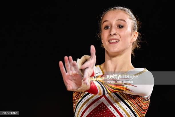 Nina Derwael of Belgium prepares to compete on the floor exercise during the qualification round of the Artistic Gymnastics World Championships on...