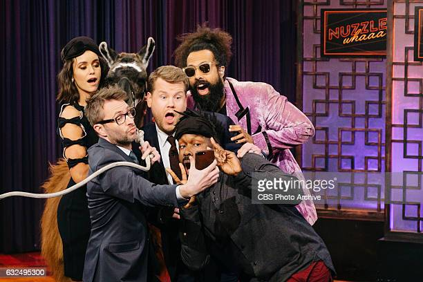 Nina Dobrev and Chris Hardwick perform Nuzzle Whaaaa with James Corden during 'The Late Late Show with James Corden' Thursday January 19 2017 On The...
