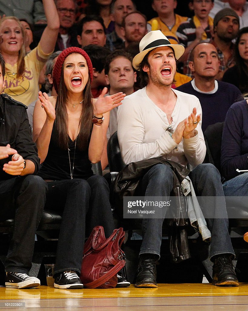 Nina Dobrev (L) and Ian Somerhalder attend Game Five of the Western Conference Finals between the Phoenix Suns and the Los Angeles Lakers during the 2010 NBA Playoffs at Staples Center on May 27, 2010 in Los Angeles, California.