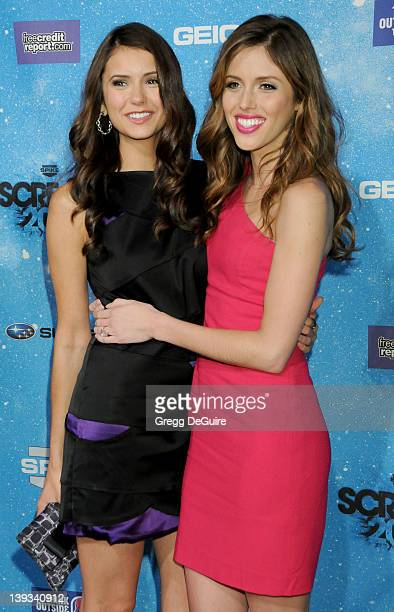 Nina Dobrev and Kayla Ewell arrive at Spike TV's 'SCREAM 2009' 4th annual event held at the Greek Theatre on October 17 2009 in Los Angeles California