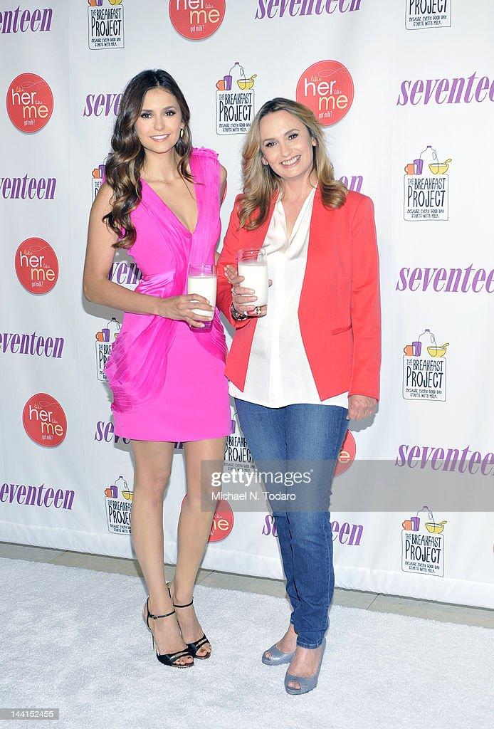 Nina Dobrev and Michaela Constantine attend the event where she launches 'like her, like me' and searches for the next mother - daughter Milk Mustache got milk? Stars at Hearst Tower on May 10, 2012 in New York City.
