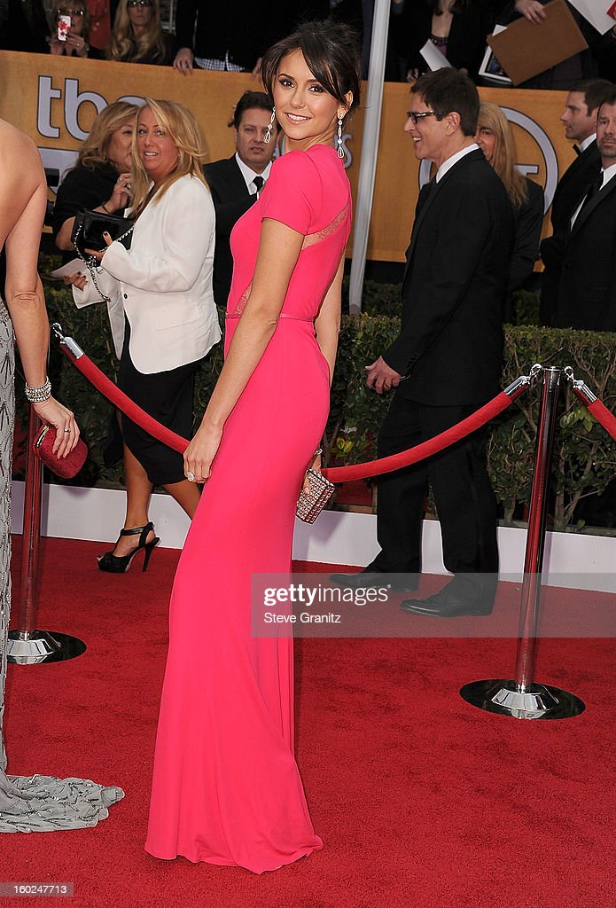 Nina Dobrev arrives at the 19th Annual Screen Actors Guild Awards at The Shrine Auditorium on January 27, 2013 in Los Angeles, California.