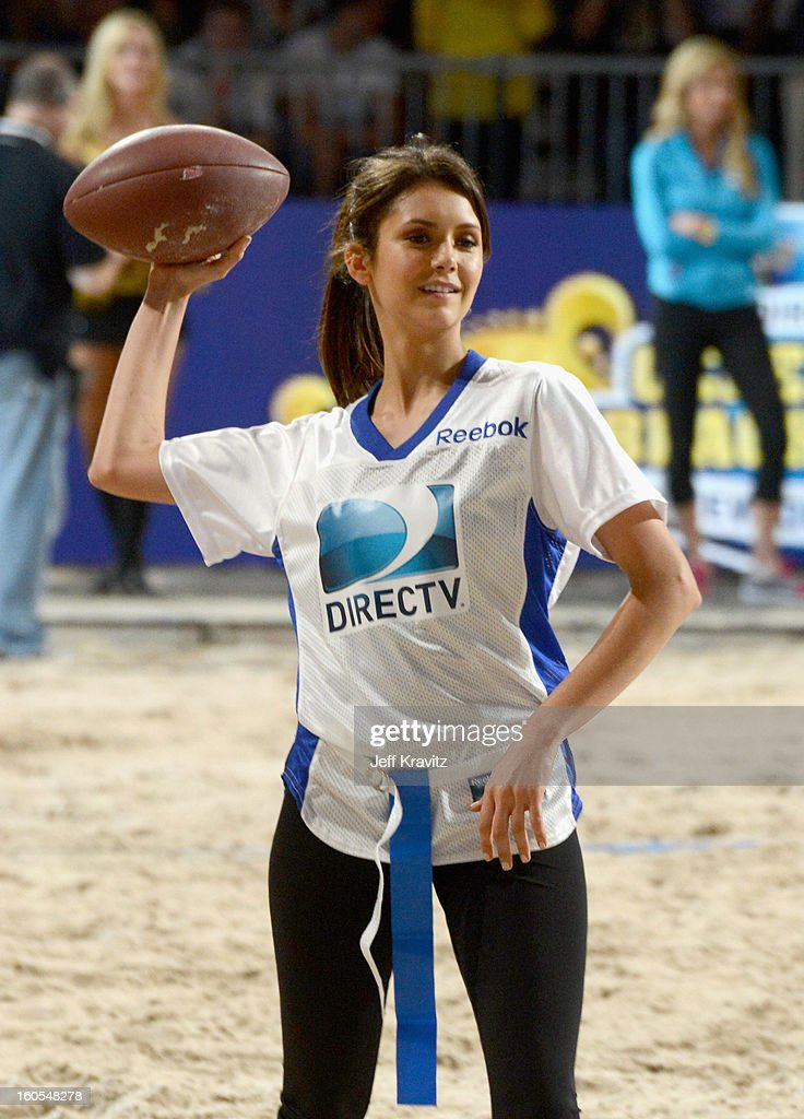 Nina Dobrev attends DIRECTV'S 7th Annual Celebrity Beach Bowl at DTV SuperFan Stadium at Mardi Gras World on February 2, 2013 in New Orleans, Louisiana.