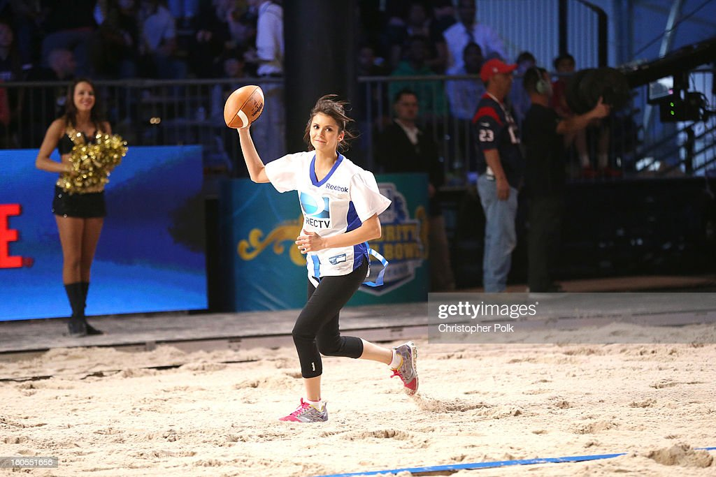 Nina Dobrev attends DIRECTV'S Seventh Annual Celebrity Beach Bowl at DTV SuperFan Stadium at Mardi Gras World on February 2, 2013 in New Orleans, Louisiana.