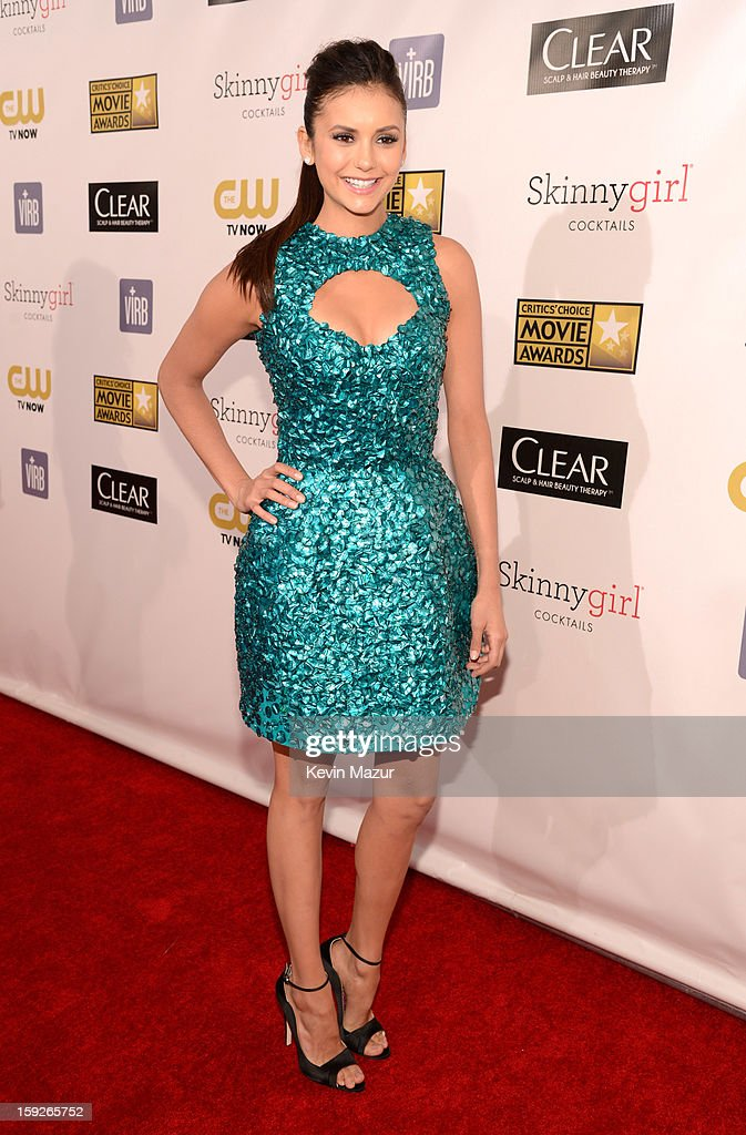 <a gi-track='captionPersonalityLinkClicked' href=/galleries/search?phrase=Nina+Dobrev&family=editorial&specificpeople=4397485 ng-click='$event.stopPropagation()'>Nina Dobrev</a> attends the 18th Annual Critics' Choice Movie Awards at The Barker Hanger on January 10, 2013 in Santa Monica, California.