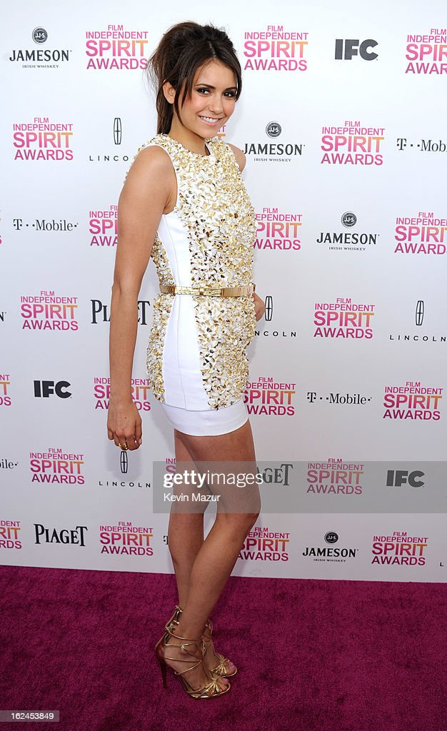 <a gi-track='captionPersonalityLinkClicked' href=/galleries/search?phrase=Nina+Dobrev&family=editorial&specificpeople=4397485 ng-click='$event.stopPropagation()'>Nina Dobrev</a> attends the 2013 Film Independent Spirit Awards at Santa Monica Beach on February 23, 2013 in Santa Monica, California.