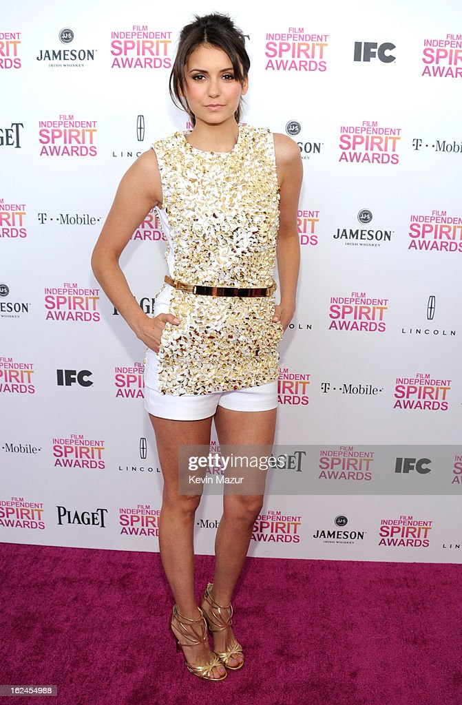 Nina Dobrev attends the 2013 Film Independent Spirit Awards at Santa Monica Beach on February 23, 2013 in Santa Monica, California.