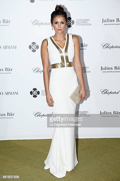 Nina Dobrev attends the cocktail reception during The Leonardo DiCaprio Foundation 2nd Annual SaintTropez Gala at Domaine Bertaud Belieu on July 22...