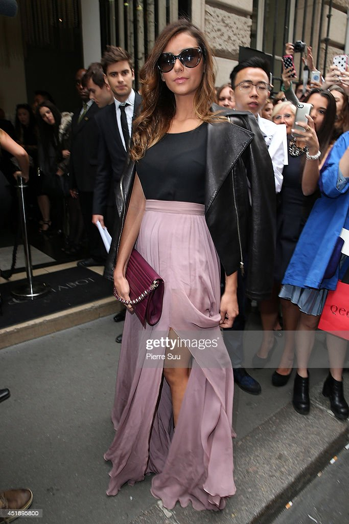 Nina Dobrev attends the Elie Saab show as part of Paris Fashion Week - Haute Couture Fall/Winter 2014-2015 at Pavillon Cambon Capucines on July 9, 2014 in Paris, France.