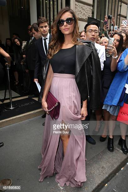 Nina Dobrev attends the Elie Saab show as part of Paris Fashion Week Haute Couture Fall/Winter 20142015 at Pavillon Cambon Capucines on July 9 2014...