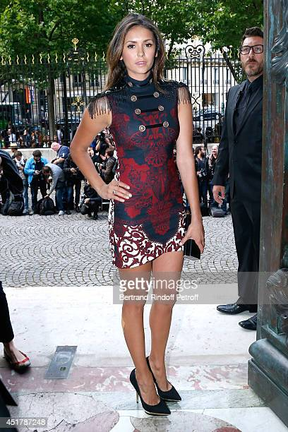 Nina Dobrev attends the Versace show as part of Paris Fashion Week Haute Couture Fall/Winter 20142015 on July 6 2014 in Paris France