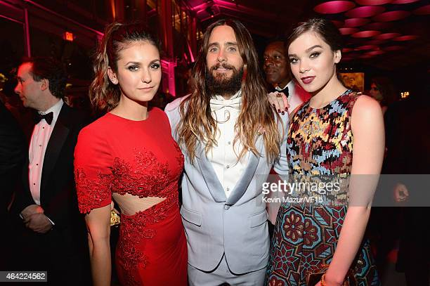 Nina Dobrev Jared Leto and Hailee Steinfeld attend the 2015 Vanity Fair Oscar Party hosted by Graydon Carter at the Wallis Annenberg Center for the...