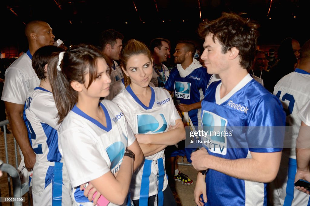Nina Dobrev, Maria Menounos and Ian Somerhalder attend DIRECTV'S 7th Annual Celebrity Beach Bowl at DTV SuperFan Stadium at Mardi Gras World on February 2, 2013 in New Orleans, Louisiana.