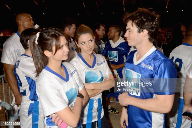 Nina Dobrev Maria Menounos and Ian Somerhalder attend DIRECTV'S 7th Annual Celebrity Beach Bowl at DTV SuperFan Stadium at Mardi Gras World on...