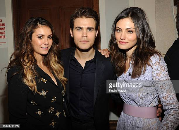 Nina Dobrev Paul Wesley and Phoebe Tonkin attend The CW Network's 2014 Upfront at New York City Center on May 15 2014 in New York City