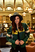 Nina Dobrev wears a starter jacket as she heads to the big game on February 7 2016 in San Francisco California