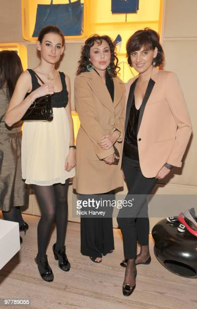 Nina D'Urso Marie Helvin and Ines de la Fressange attend the cocktail party for the launch of the 'Miss Viv' handbag collection by Roger Vivier on...