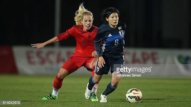 Nina Ehegoetz of Germany and Hikaru Naomoto of Japan fight for the ball during the women's U23 international friendly match between WU20 Germany and...